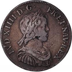 Louis XIV -1/4 d'écu à la mèche courte - 1644 A Paris
