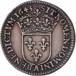 Louis XIV - 1/12 d'écu à la mèche courte  - 1645 A