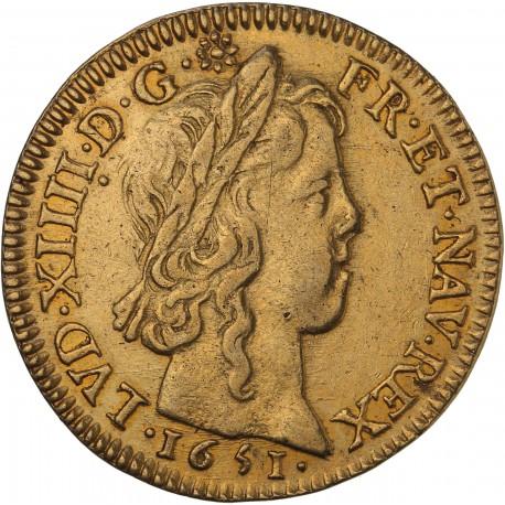 Louis XIV - Louis d'or à la mèche longue - 1651 A