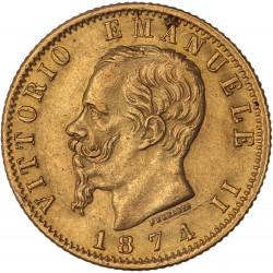 Italie - 20 lires Victor Emmanuel II - 1874 R