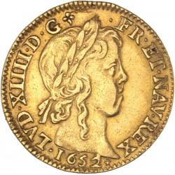 Louis XIV - Louis d'or à la mèche longue - 1652 C Saint Lô