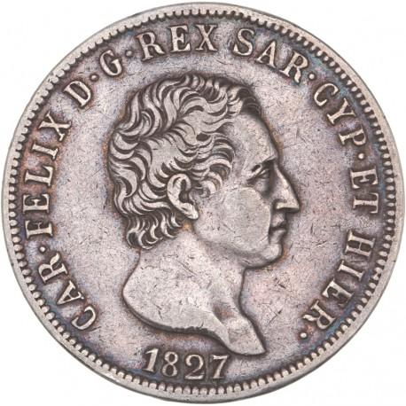 Italie - 5 lires Charles Albert - 1827 Gênes