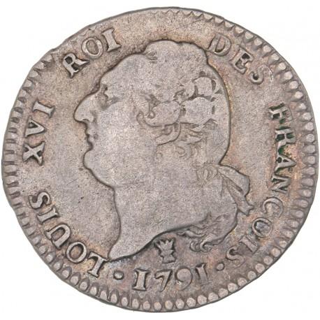 Louis XVI - période constitutionnelle - 15 sols françois 1791 I Limoges
