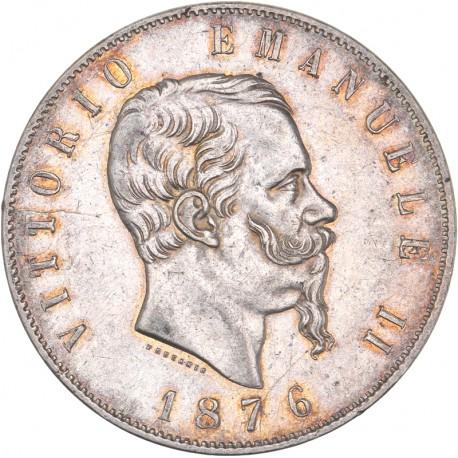 Italie - 5 lires Victor Emmanuel II - 1876 Rome