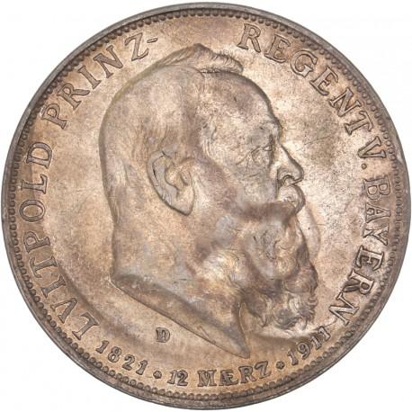 Allemagne - Bavière - 5 mark 1911 D