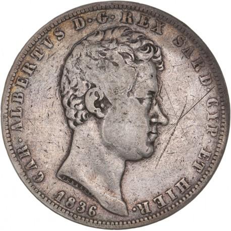Italie - 5 lires Charles Albert - 1836 Gênes