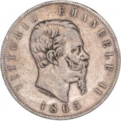 Italie - 5 lires Victor Emmanuel II - 1865 Turin