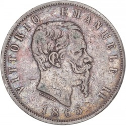 Italie - 5 lires Victor Emmanuel II - 1865 Naples