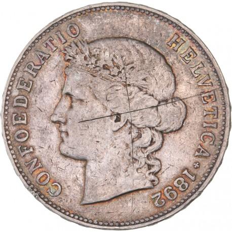 Suisse - 5 francs Helvetia 1892 B