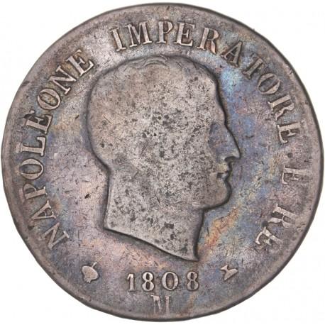 Italie - 5 lires Napoléon Ier 1808 M