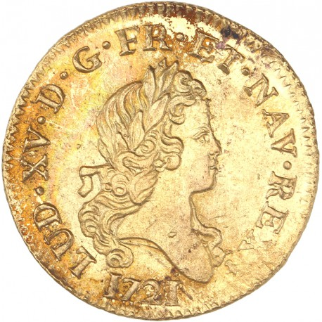 Louis XV - Louis d'or aux 2 L -1721 A