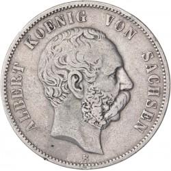 Allemagne - Saxe - 5 mark 1875 E