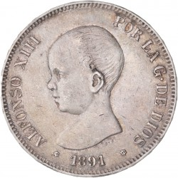 Espagne - 5 pesetas Alphonse XIII 1891