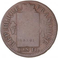 Louis XVI - période conventionnelle  - 1 sol aux balances 1793 BB Strasbourg