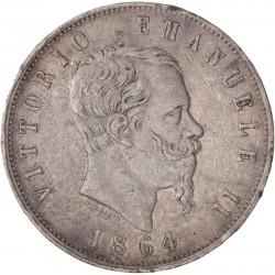Italie - 5 lires Victor Emmanuel II - 1864 Naples