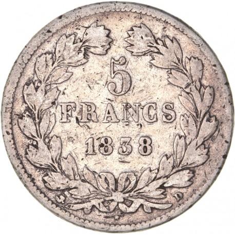 5 francs Louis Philippe Ier 1838 D Lyon