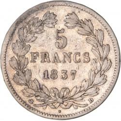 5 francs Louis Philippe Ier 1837 D Lyon