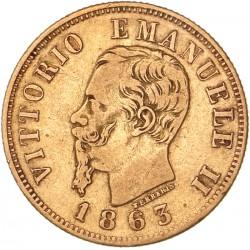Italie - 10 lires Victor Emmanuel II 1863
