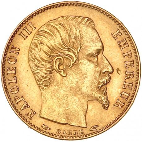 5 Francs Napoléon III 1854 A - Petit Module tranche lisse.