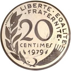 Piéfort argent 20 centimes 1979