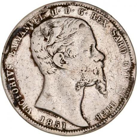 Italie - Sardaigne - 5 lires Victor Emmanuel II - 1851 Gênes