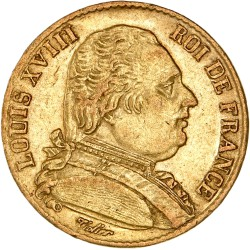 20 francs Louis XVIII 1814 A
