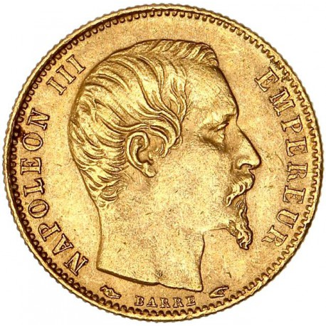 5 Francs Napoléon III 1854 A - Petit Module tranche cannelée