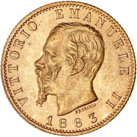 Italie - 20 lires Victor Emmanuel II - 1863 Turin
