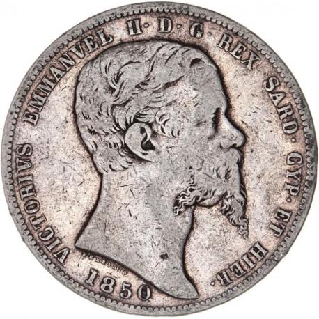 Italie - Sardaigne - 5 lires Victor Emmanuel II - 1850 Gênes