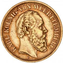 Allemagne - Wurtemberg - 10 mark  Charles Ier 1877