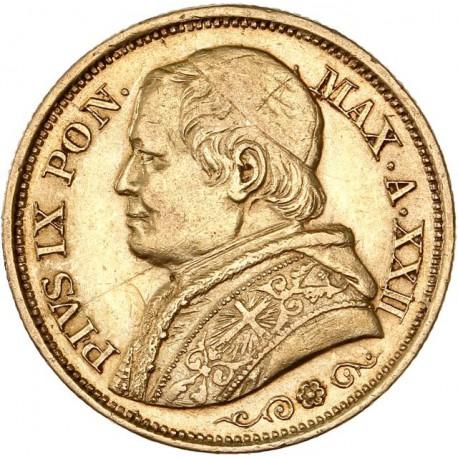 Vatican - 20 lires Pie IX 1867 an 22