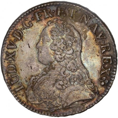 Louis XV - Ecu aux lauriers  1729 V Troyes