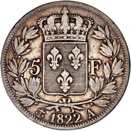 5 francs Louis XVIII 1822 A