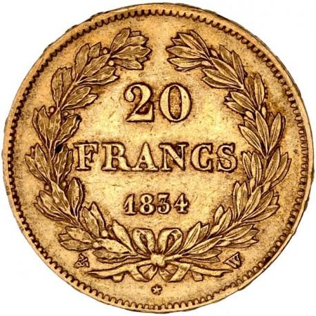 20 francs Louis Philippe Ier  1834 W