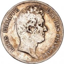 """5 francs Louis Philippe  """"sans le 1"""" 1830 D"""