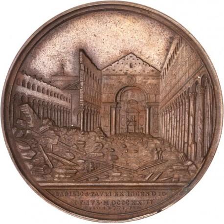 Médaille reconstruction de la basilique Saint Paul de Rome