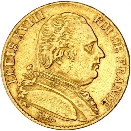 20 francs Louis XVIII 1815 L