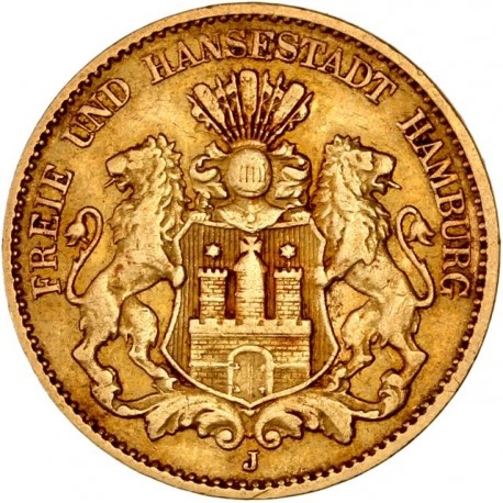 Allemagne - Hambourg  10 mark 1879 J