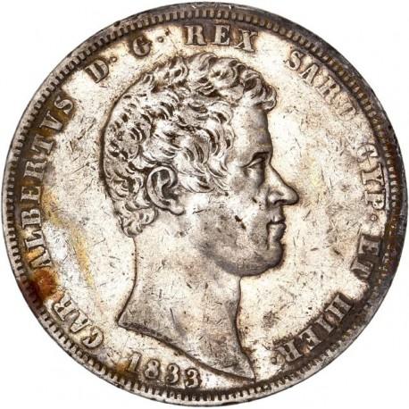 Italie - 5 lires Charles Albert - 1833 Gênes