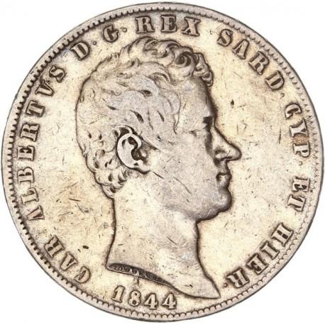 Italie - 5 lires Charles Albert - 1844 Gênes
