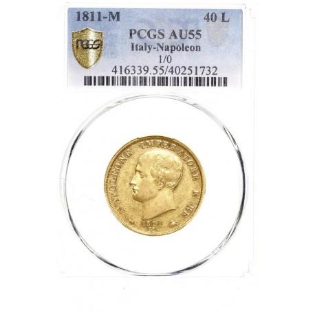 Italie - 40 lires Napoléon Ier 1811 M (1 sur 0)