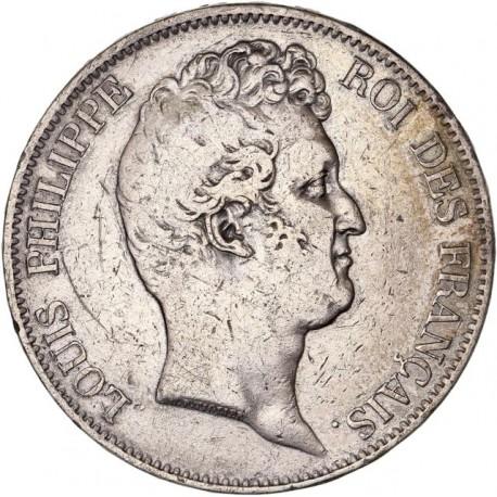"""5 francs Louis Philippe Ier """"sans le I"""" 1830 A tranche relief"""