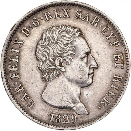 Italie - 5 lires Charles Félix - 1829 Gênes