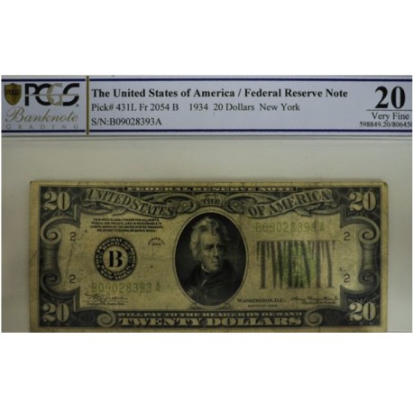 Billet de 20 dollars 1934 New York