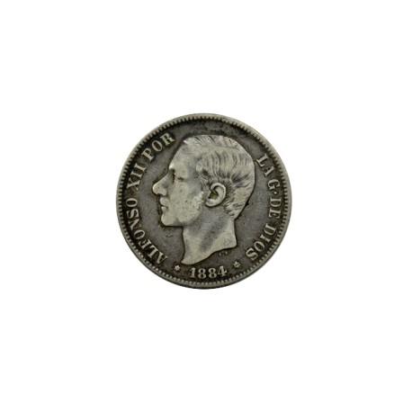 Espagne - 5 pesetas Alphonse XII 1884